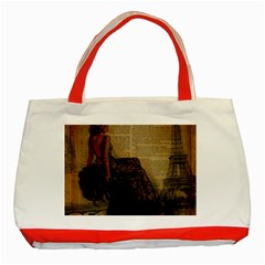 Elegant Evening Gown Lady Vintage Newspaper Print Pin Up Girl Paris Eiffel Tower Classic Tote Bag (Red)