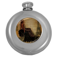 Elegant Evening Gown Lady Vintage Newspaper Print Pin Up Girl Paris Eiffel Tower Hip Flask (Round)