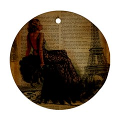 Elegant Evening Gown Lady Vintage Newspaper Print Pin Up Girl Paris Eiffel Tower Round Ornament (Two Sides)