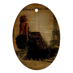 Elegant Evening Gown Lady Vintage Newspaper Print Pin Up Girl Paris Eiffel Tower Oval Ornament (Two Sides)