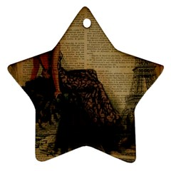 Elegant Evening Gown Lady Vintage Newspaper Print Pin Up Girl Paris Eiffel Tower Star Ornament (two Sides)