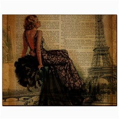 Elegant Evening Gown Lady Vintage Newspaper Print Pin Up Girl Paris Eiffel Tower Canvas 8  x 10  (Unframed)