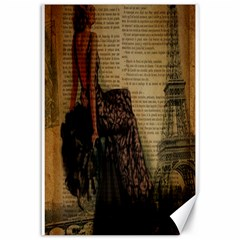 Elegant Evening Gown Lady Vintage Newspaper Print Pin Up Girl Paris Eiffel Tower Canvas 12  x 18  (Unframed)