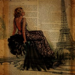 Elegant Evening Gown Lady Vintage Newspaper Print Pin Up Girl Paris Eiffel Tower Canvas 16  X 16  (unframed)