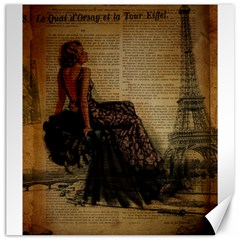 Elegant Evening Gown Lady Vintage Newspaper Print Pin Up Girl Paris Eiffel Tower Canvas 20  x 20  (Unframed)