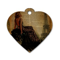 Elegant Evening Gown Lady Vintage Newspaper Print Pin Up Girl Paris Eiffel Tower Dog Tag Heart (One Sided)
