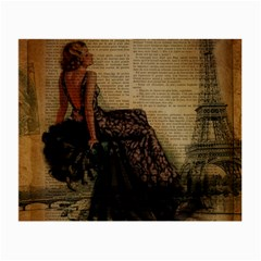 Elegant Evening Gown Lady Vintage Newspaper Print Pin Up Girl Paris Eiffel Tower Glasses Cloth (small, Two Sided)