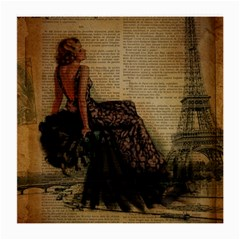 Elegant Evening Gown Lady Vintage Newspaper Print Pin Up Girl Paris Eiffel Tower Glasses Cloth (Medium)