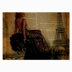 Elegant Evening Gown Lady Vintage Newspaper Print Pin Up Girl Paris Eiffel Tower Glasses Cloth (Large, Two Sided)