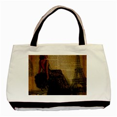 Elegant Evening Gown Lady Vintage Newspaper Print Pin Up Girl Paris Eiffel Tower Twin-sided Black Tote Bag