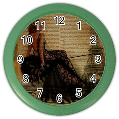 Elegant Evening Gown Lady Vintage Newspaper Print Pin Up Girl Paris Eiffel Tower Wall Clock (Color)