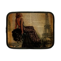Elegant Evening Gown Lady Vintage Newspaper Print Pin Up Girl Paris Eiffel Tower Netbook Case (Small)