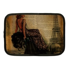 Elegant Evening Gown Lady Vintage Newspaper Print Pin Up Girl Paris Eiffel Tower Netbook Case (Medium)
