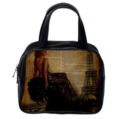 Elegant Evening Gown Lady Vintage Newspaper Print Pin Up Girl Paris Eiffel Tower Classic Handbag (One Side)