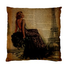 Elegant Evening Gown Lady Vintage Newspaper Print Pin Up Girl Paris Eiffel Tower Cushion Case (Single Sided)