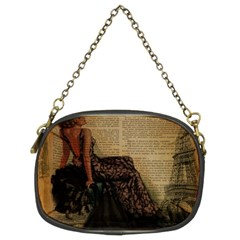 Elegant Evening Gown Lady Vintage Newspaper Print Pin Up Girl Paris Eiffel Tower Chain Purse (two Sided)