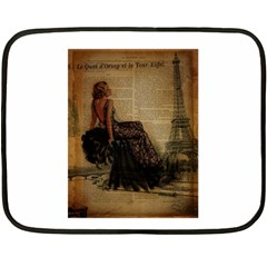 Elegant Evening Gown Lady Vintage Newspaper Print Pin Up Girl Paris Eiffel Tower Mini Fleece Blanket (two Sided)