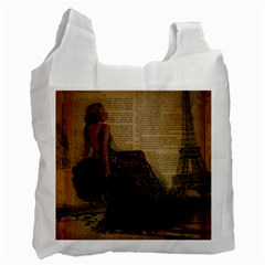 Elegant Evening Gown Lady Vintage Newspaper Print Pin Up Girl Paris Eiffel Tower Recycle Bag (two Sides)