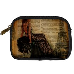 Elegant Evening Gown Lady Vintage Newspaper Print Pin Up Girl Paris Eiffel Tower Digital Camera Leather Case