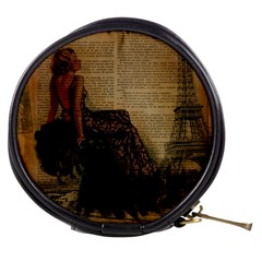 Elegant Evening Gown Lady Vintage Newspaper Print Pin Up Girl Paris Eiffel Tower Mini Makeup Case