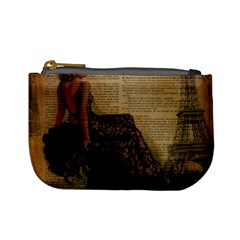 Elegant Evening Gown Lady Vintage Newspaper Print Pin Up Girl Paris Eiffel Tower Coin Change Purse