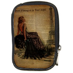 Elegant Evening Gown Lady Vintage Newspaper Print Pin Up Girl Paris Eiffel Tower Compact Camera Leather Case