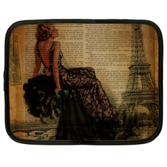 Elegant Evening Gown Lady Vintage Newspaper Print Pin Up Girl Paris Eiffel Tower Netbook Case (XL)