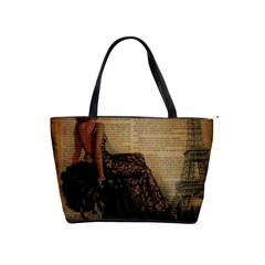 Elegant Evening Gown Lady Vintage Newspaper Print Pin Up Girl Paris Eiffel Tower Large Shoulder Bag