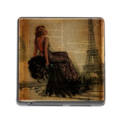 Elegant Evening Gown Lady Vintage Newspaper Print Pin Up Girl Paris Eiffel Tower Memory Card Reader with Storage (Square)
