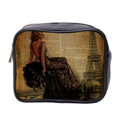 Elegant Evening Gown Lady Vintage Newspaper Print Pin Up Girl Paris Eiffel Tower Mini Travel Toiletry Bag (two Sides)