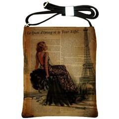 Elegant Evening Gown Lady Vintage Newspaper Print Pin Up Girl Paris Eiffel Tower Shoulder Sling Bag