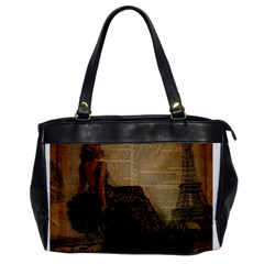 Elegant Evening Gown Lady Vintage Newspaper Print Pin Up Girl Paris Eiffel Tower Oversize Office Handbag (One Side)