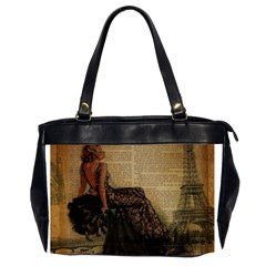 Elegant Evening Gown Lady Vintage Newspaper Print Pin Up Girl Paris Eiffel Tower Oversize Office Handbag (Two Sides)