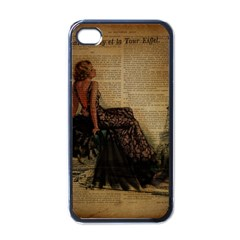 Elegant Evening Gown Lady Vintage Newspaper Print Pin Up Girl Paris Eiffel Tower Apple Iphone 4 Case (black)