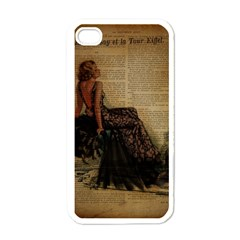 Elegant Evening Gown Lady Vintage Newspaper Print Pin Up Girl Paris Eiffel Tower Apple Iphone 4 Case (white)