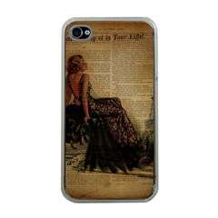 Elegant Evening Gown Lady Vintage Newspaper Print Pin Up Girl Paris Eiffel Tower Apple iPhone 4 Case (Clear)