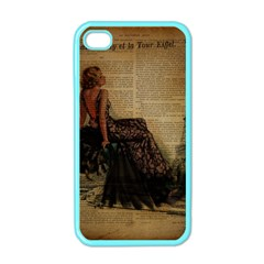 Elegant Evening Gown Lady Vintage Newspaper Print Pin Up Girl Paris Eiffel Tower Apple iPhone 4 Case (Color)