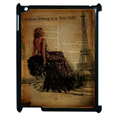 Elegant Evening Gown Lady Vintage Newspaper Print Pin Up Girl Paris Eiffel Tower Apple iPad 2 Case (Black)