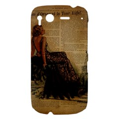 Elegant Evening Gown Lady Vintage Newspaper Print Pin Up Girl Paris Eiffel Tower HTC Desire S Hardshell Case