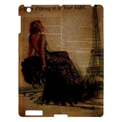 Elegant Evening Gown Lady Vintage Newspaper Print Pin Up Girl Paris Eiffel Tower Apple Ipad 3/4 Hardshell Case