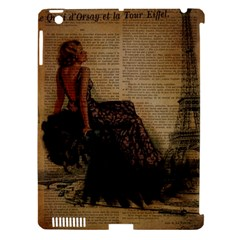Elegant Evening Gown Lady Vintage Newspaper Print Pin Up Girl Paris Eiffel Tower Apple iPad 3/4 Hardshell Case (Compatible with Smart Cover)