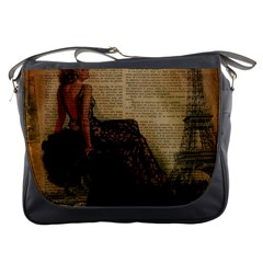 Elegant Evening Gown Lady Vintage Newspaper Print Pin Up Girl Paris Eiffel Tower Messenger Bag