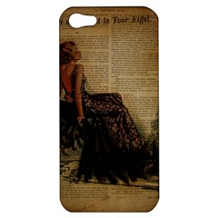 Elegant Evening Gown Lady Vintage Newspaper Print Pin Up Girl Paris Eiffel Tower Apple iPhone 5 Hardshell Case