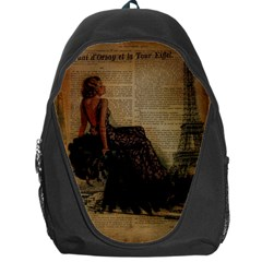 Elegant Evening Gown Lady Vintage Newspaper Print Pin Up Girl Paris Eiffel Tower Backpack Bag