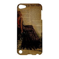 Elegant Evening Gown Lady Vintage Newspaper Print Pin Up Girl Paris Eiffel Tower Apple iPod Touch 5 Hardshell Case