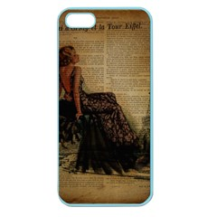 Elegant Evening Gown Lady Vintage Newspaper Print Pin Up Girl Paris Eiffel Tower Apple Seamless iPhone 5 Case (Color)
