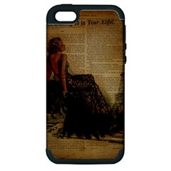 Elegant Evening Gown Lady Vintage Newspaper Print Pin Up Girl Paris Eiffel Tower Apple Iphone 5 Hardshell Case (pc+silicone)