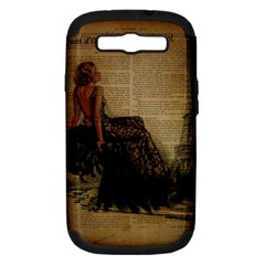 Elegant Evening Gown Lady Vintage Newspaper Print Pin Up Girl Paris Eiffel Tower Samsung Galaxy S III Hardshell Case (PC+Silicone)