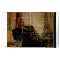Elegant Evening Gown Lady Vintage Newspaper Print Pin Up Girl Paris Eiffel Tower Apple iPad 2 Flip Case