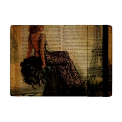 Elegant Evening Gown Lady Vintage Newspaper Print Pin Up Girl Paris Eiffel Tower Apple Ipad Mini Flip Case